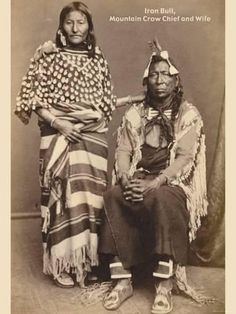 Iron Bull (Mountain Crow Chief) & his wife, (Crow tribe),