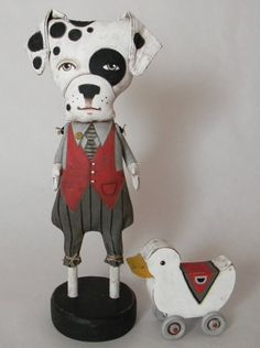 Dalmatian Dog and his Duck Contemporary Folk by cartbeforethehorse, $140.00