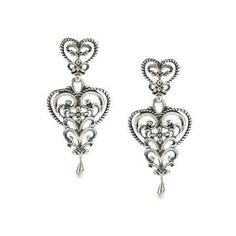 Carolyn Pollack Sterling Silver Heart Dangle Earrings