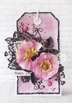 Floral tag by Olga, using Prima specialty flowers. #prima #flowers #tag #papercrafting