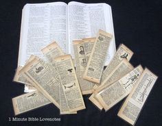 Fun to make book marks from vintage book pages!  Add some ribbon, etc. to make them really special!