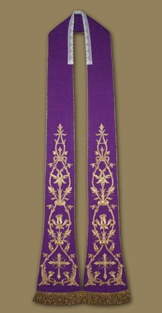 Roman Stole. Richly decorated with machine embroidery. Both long edges are finished with gold cord. Soft gold fringes on the bottom edges. Stole is fully lined
