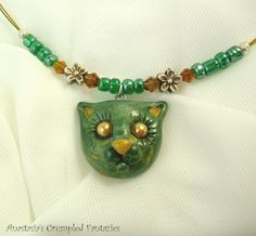 Green kitty pendant Polymer clay forest cat by CrumpledFantazies