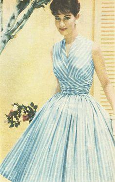 1950s blue stripe dress | From The Australian Women's Weekly, 14 January 1959