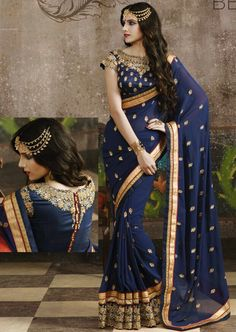 #Blue Georgette #Wedding #Saree with Blouse More