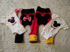 Minnie Mouse Maxaloones in Pink or Red with 3D Bow  **I am running a pre-Summer shorts sale. All Size 1 shorts/outfits are discounted to reflect the temporary pricing!! :)  Im happy to change the band (belly/leg) colors to anything else. Please just message me before placing your order.  Made by me in a smoke/pet free home. Top stitched and serged.  Really soft and stretchy cotton lycra is perfect for cloth diapers. Grow-With-Me style of pants which means the pants will stretc...