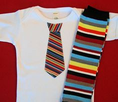 Striped Baby Boy Tie Onesie and matching leg by WeChooseJoy, $22.50