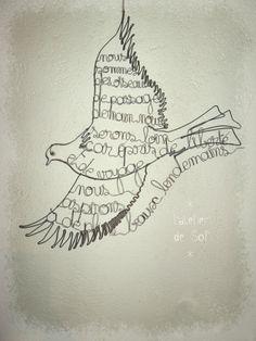 hommage à mon fils - sculpture oiseau fil de fer latelierdesof