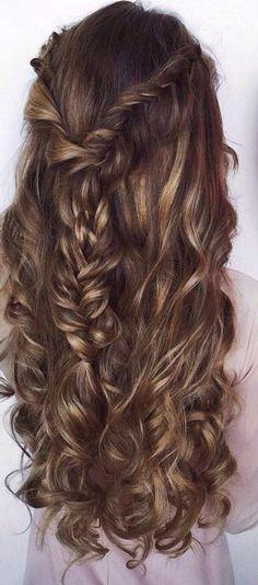 Balayage half up half down fishtail braids #gorgeoushair