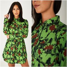 Funky Bright Green Button Up Floral Shirt Dress Mini Cotton Festival Floral Shirt Dress, Mini Shirt Dress, Boho Dress, Denim Dresses, Green Button, Shirtdress, Bright Green, Wedding Attire, Dress Black