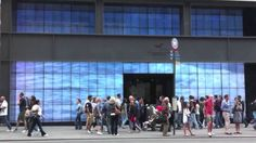 The Manhattan Hollister store features a live video feed of surfers in Huntington Beach, California