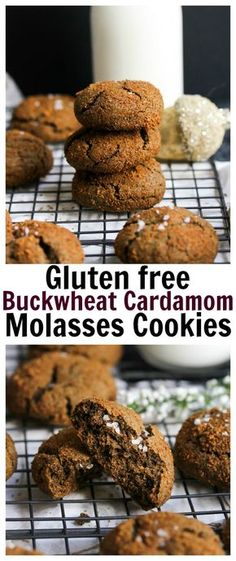 Buckwheat Cardamom Molasses Cookies (gluten free, whole grain) | dishingouthealth.com