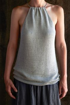 Free Knitting Pattern for Drawstring Camisole - Sleeveless top with front and back yokes knit separately and then joined to knit body in the round.Designed by Purl Soho. Summer Knitting, Easy Knitting, Loom Knitting, Knitting Patterns Free, Knit Patterns, Cardigan Pattern, Top Pattern, Pull Crop Top, Purl Soho