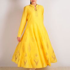 Yellow Chanderi Block Printed Long Kali Kurta