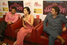 Sunny Leone at a press conference for their film Jackpot in Noida