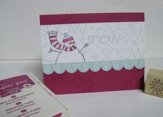 This is real similar to the other card, but different colors. I used the Quickie Glue pinpoint roller glue pen to add the glitter. I really like how easy this pen is to use. Stamping Up, Different Colors, Snowman, Paper Crafts, Simple, Cards, Tissue Paper Crafts, Snowmen, Map