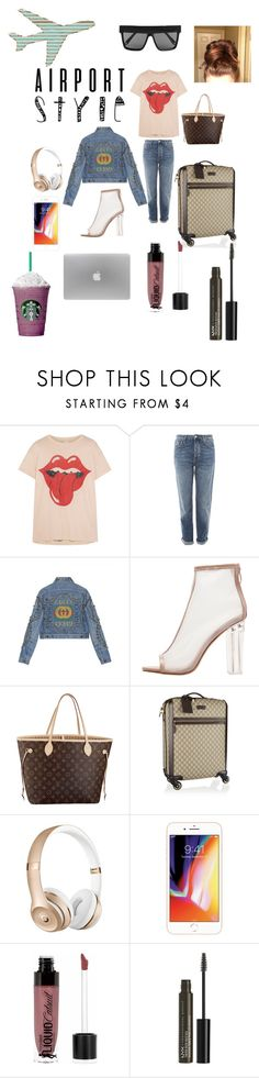 """""""let's go baby"""" by biggirlscrysia ❤ liked on Polyvore featuring MadeWorn, Topshop, Gucci, Louis Vuitton, Wet n Wild, NYX, Victoria Beckham and airportstyle"""