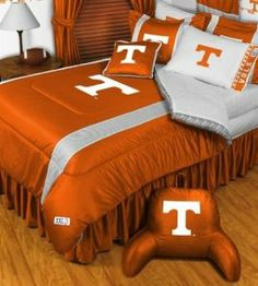 Tennessee Volunteers NCAA Bedding - Sidelines Complete Set by Sports Coverage. $142.99. Save big and show your team spirit with Sidelines Tennessee Volunteers Bedding Set, including the Comforter, Sheet set, Pillow sham and Bed skirt! This Comforter is made from 100% Polyester Jersey Mesh - just like what the players wear. The fill is 100% Polyester batting for warmth and comfort. Authentic team colors and logo screen printed in the center. Microfiber Sheet Set have an ultra-fi...