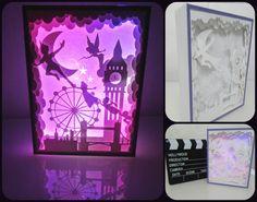 Light box Peter Pan - paper cut. Cuadro capas papel iluminado