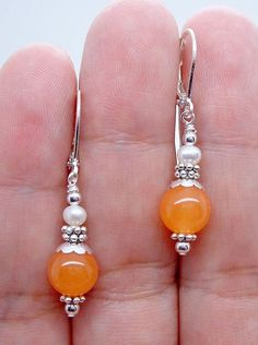 Pretty Orange Jade Beads Gemstone Silver Dangle Earring