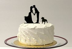 If you wanted a cake topper one idea - Kissing Couple Silhouette Wedding Cake Topper with Bulldog
