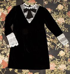 Black Velvet Lace Babydoll Dress  Dah1779 #lbd #pixiemarket #fall