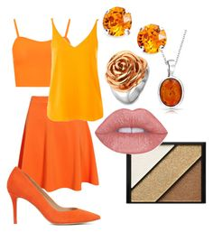 """skirt orange"" by zombiebarbie1333 on Polyvore featuring WearAll, Boohoo, Bling Jewelry, Topshop, L. Erickson, West Coast Jewelry, Elizabeth Arden and ALDO"