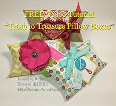 """A FREE Video Tutorial on how to make these """"Trash to Treasure Pillow Boxes"""" with easy, step by step directions. Everything except the toilet paper rolls comes from Stampin' Up! What a great DIY gift wrap idea that's also a great way to recycle! Cardboard Tube Crafts, 3d Paper Crafts, Diy Paper, Fun Crafts, Paper Crafting, Paper Towel Tubes, Craft Club, Trash To Treasure, Valentine Box"""