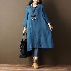 Retro Button Cotton Summer Women Loose Casual Blue Dress