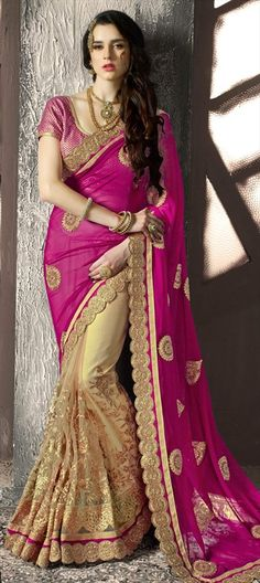 703643 Beige and Brown, Pink and Majenta  color family Embroidered Sarees, Party…