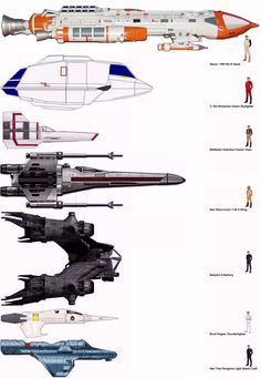 Ship Comparisons - Space 1999 Hawk, V shuttle, Battlestar Galactica Viper, Star Wars X-Wing, Babylon 5 Starfury, Buck Rogers Thunderfighter, Star Trek Peregrine.
