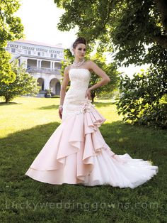 Floral Mermaid Bridal Wedding Gown with Asymmetrical Tiered Skirt