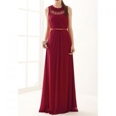 Women's Cotton Blend Solid Color Hollow Out Ruffles Stylish Maxi Dress(Without Belt), RED, ONE SIZE in Maxi Dresses | DressLily.com