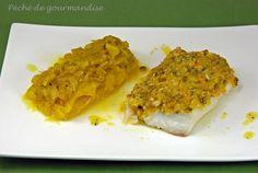 dos de cabillaud en croûte d'amande, et compotée de fenouil et marmelade d'orange