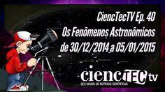 Saiba o que observar no céu entre os dia 30 de Dezembro de 2014 e 5 de Janeiro de 2015. O CiencTecTV leva agora até você, um resumo desses fenômenos. Nessa semana, conjunção, Lua Cheia, Terra no Periélio, Júpiter dominando a madrugada e o cometa Lovejoy ainda dando show. Assista o programa e depois vá para fora de casa observar o céu. Boa diversão!!!  CiencTecTV EP.40 - Os Fenômenos Astronômicos de 30/12/2014 a 05/01/2015