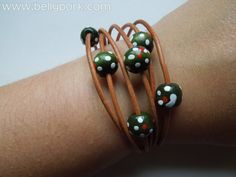 Natural leather bracelet with wood beads. Brown by BellyPork, €5.00