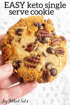 My Keto Single Serve Cookie is perfect for a sweet treat. Bake or microwave a sugar cookie with or without add-ins in minutes! Chocolate chip cookie, peanut butter chip cookie, pecans, walnuts, chocolate chunks - add anything you like! Low Carb Sweets, Low Carb Desserts, Low Carb Recipes, Gf Recipes, Free Recipes, Gluten Free Cookie Recipes, Sugar Free Desserts, Ketogenic Desserts, Keto Snacks