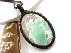 Lucin Variscite necklace, Variscite jewelry,  Variscite pendant, Healing Gift, Healing stones and crystal, Macrame necklace, Stress relief