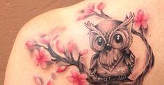 Owl and cherry blossom tattoo | tattoos | Pinterest | Cherry Blossom Tattoos…