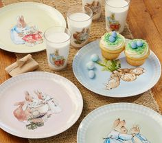 I love Beatrix Potter!!! Set and tumblers available at Pottery Barn Kids, 2014