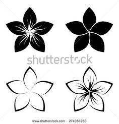 Four frangipani silhouettes for design vector/