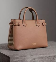 The Medium Banner in Leather and House Check Dark Sand $1590 | Burberry