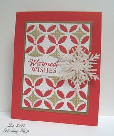 handmade quilt card: Lil' Inker Christmas Quilt with a sparkly layered snowflake ...