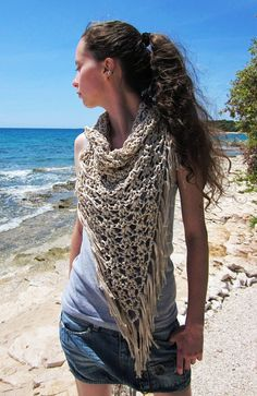 Crochet fringe cowl neck scarf in ecru, cream