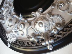 Items similar to Ceiling Medallion, SILVER MOON, painted in silver, black for a fan or chandelier on Etsy Ceiling Rose, White Ceiling, Ceiling Tiles, Ceiling Design, Plaster Caster, Moon Painting, Victorian Design, Black Floor, Pop Design