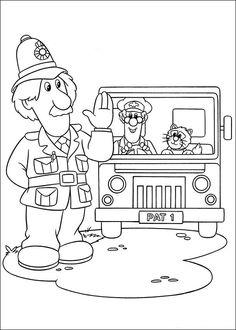 Postman Pat in truck coloring pages for kids, printable free Truck Coloring Pages, Cartoon Coloring Pages, Disney Coloring Pages, Colouring Pages, Printable Coloring Pages, Coloring Books, Kids Colouring, Colouring Sheets, Coloring Sheets For Kids