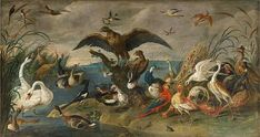 Jan van Kessel II (Pays-Bas, 1626-1679) –  The Coronation of the King of the Birds (1667)