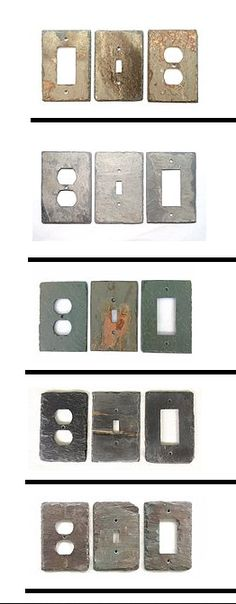 Perfect accent for log cabins. vermontslateplates.com makes light switch and outlet covers from reclaimed roof slates. Custom plate sizes and configurations at no extra charge, hand made in Monkton Vermont.
