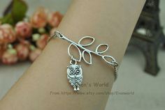 Leaves and owl fashion charm bracelets men and women by Evanworld, $1.99 Personalized fashion charm bracelet, the best gift of friendship.