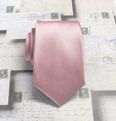 Mens Tie. Dusty Rose Pink Narrow Necktie With by TieObsessed